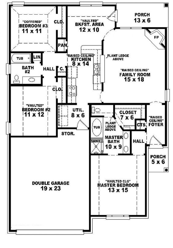 654104 one story 3 bedroom 2 bath french country style for One story french country house plans