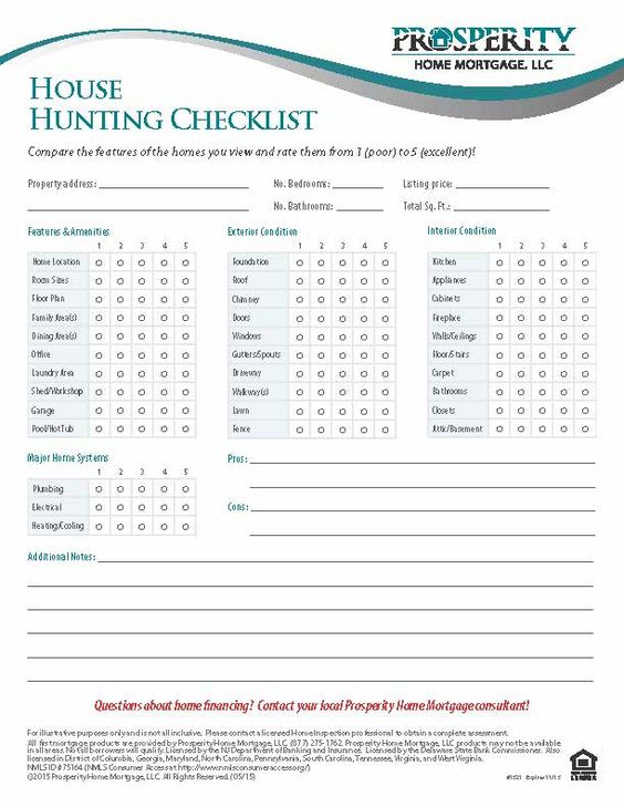 House Hunting Checklist - Prosperity Home Mortgage, LLC | Home Buyer ...