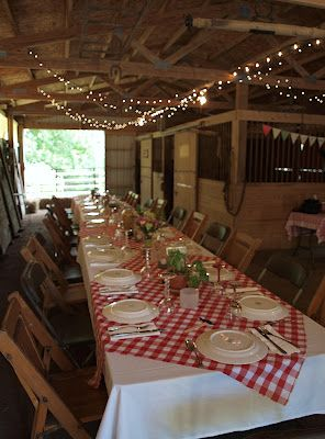 We have red and white check tablecloths for the Serving/Buffet tables