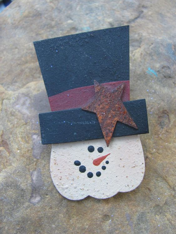 Snowman Pin by 4DogCafe on Etsy, 4.00