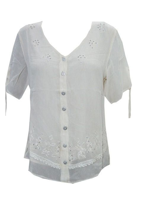 WOMEN'S TANK TOP OFF WHITE FLORAL EMBROIDERED PEASANT RAYON SUMMER TOP S #Mogulinterior #Blouse #EveningOccasion