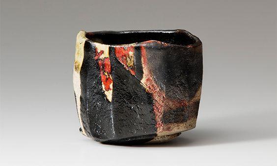 Yakinuki-type black Raku tea bowl named Yōkoku, 1989, by Raku Kichizaemon XV. Private collection.