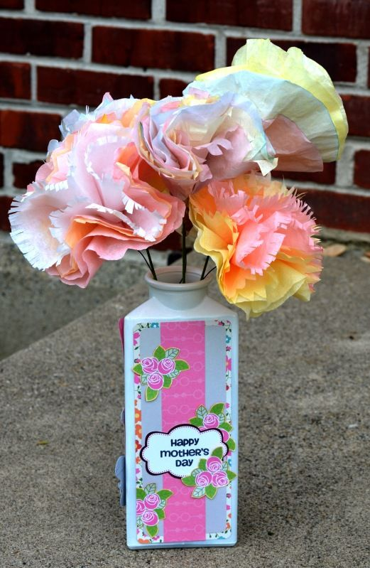 coffee filter flowers (easy enough for a 6 year old) in altered vase, using joy's life holiday occasions and tag you're it two stamps
