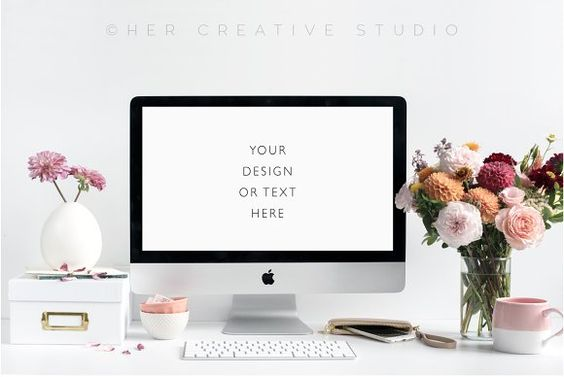 Styled Desktop with Autumn Flowers by Her Creative Studio on @creativemarket