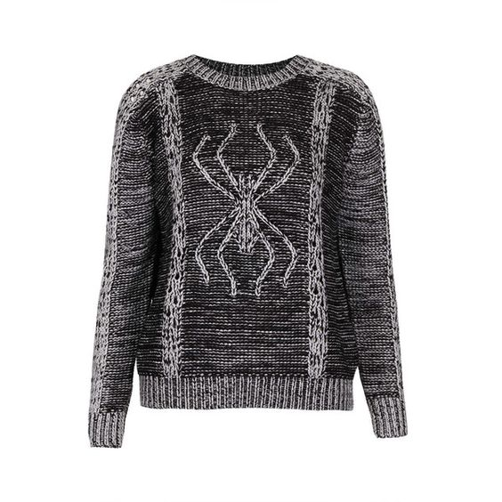 TOPSHOP Knitted 3D Spider Jumper ($13) ❤ liked on Polyvore featuring tops, sweaters, jumper, topshop, grey, topshop jumpers, topshop sweater, gray sweater, grey jumper and grey sweater