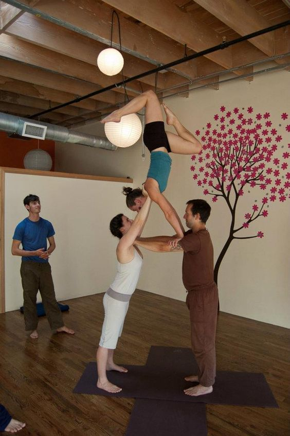 3 Person Acro Yoga Pose Assisted Handstand Yoga Love