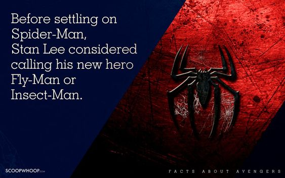 Before setting on Spider-Man, Stan Lee considered calling his new hero Fly-Man or Insect-Man.