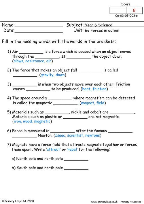 Different Types Of Forces Primaryleap Co Uk Worksheets Force