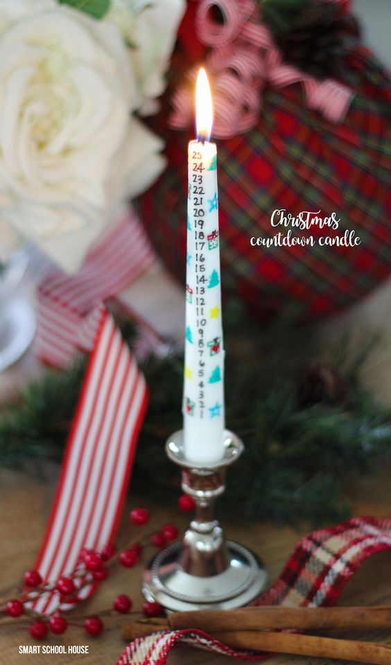 DIY Christmas Countdown Candle for the holidays! Transfer any countdown design you create to a candle. An ADORABLE Christmas tradition idea and craft.