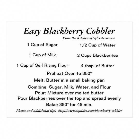 Blackberry Cobbler Recipe Card   Zazzle.com