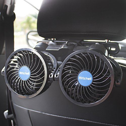 Poraxy Car Fans 12v Electric Auto Cooling Headrest 360 Degree Rotatable 2 Speed Poraxy Air Fan Rear Seat Cooling Fan