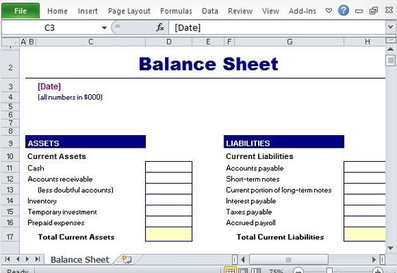 Simple Balance Sheet Maker Template for Excel Excel Templates - inventory worksheet template