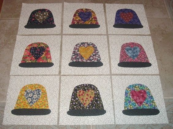 9 Scrappy Thimbles with Heart Quilt Top Blocks by MarsyesQuiltShop, $13.95