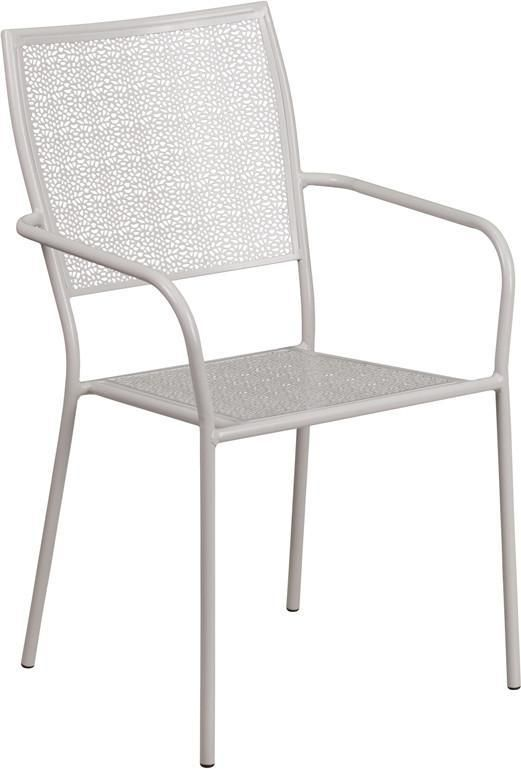 Indoor Outdoor Steel Patio Arm Chair With Square Back Patio