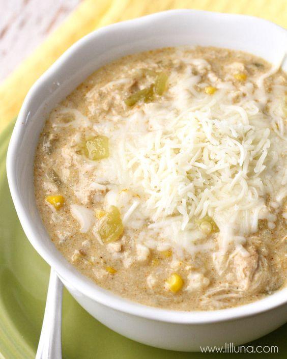 Crock Pot Green Chile Enchilada Soup - a new favorite soup recipe that is easy to make AND delicious! { lilluna.com } #soup