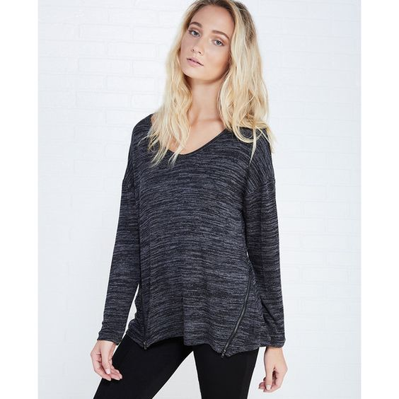 Double Zero Inc.  Slouchy Long Sleeve Top With Zipper Details ($20) ❤ liked on Polyvore featuring tops, black, wet seal, relaxed fit tops, knit top, slouchy tops, zip top and long sleeve slouchy top