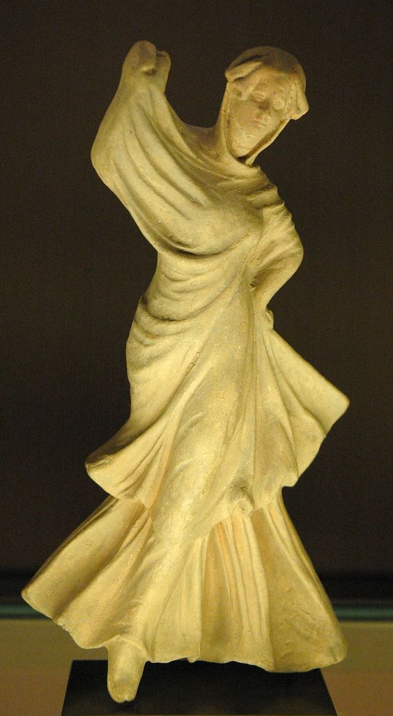 Veiled dancer, ancient Greek terracotta figurine from Myrina, ca. 150–100 BC. Louvre Museum