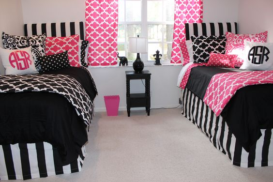 hot pink and black dorm room bedding design matching dorm room #dormroom2014 designer dorm ideas bold dorm room www.decor-2-ur-door.com