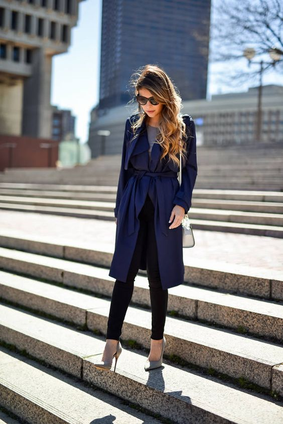 Navy Rench Coat Transitioning Outfit Idea