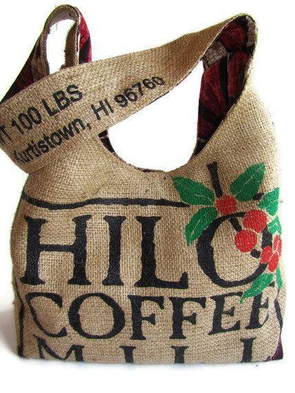 Repurposed Burlap Coffee Bag. Hilo, Hawaii Hobo Purse. Handmade in Hawaii. Made To Order.