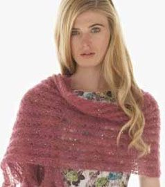 This Stellar Wrap uses 4 skeins of sequined Kidsilk Haze Glamour. It's our Sunday Social deal today: Use code SOCIAL for 30% off.  Share, retweet or repin to get 40% off!  This deal is only good through Monday, Aug 20.