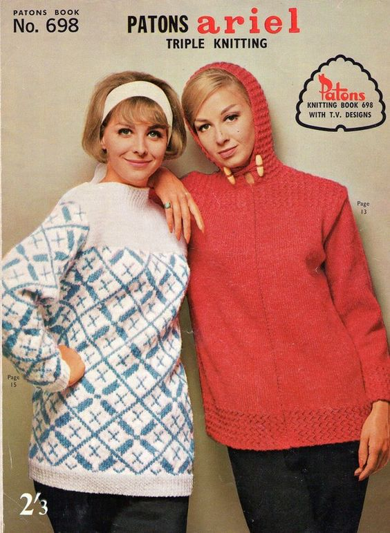60s Vintage Womens Knitting Patterns Booklet Patons 718 Mod 5 Ply