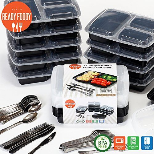 3 Sections Microwavable Reusable Freezer Safe Meal Prep Food Storage Containers with Complete Cutlery Set- 10 Pack