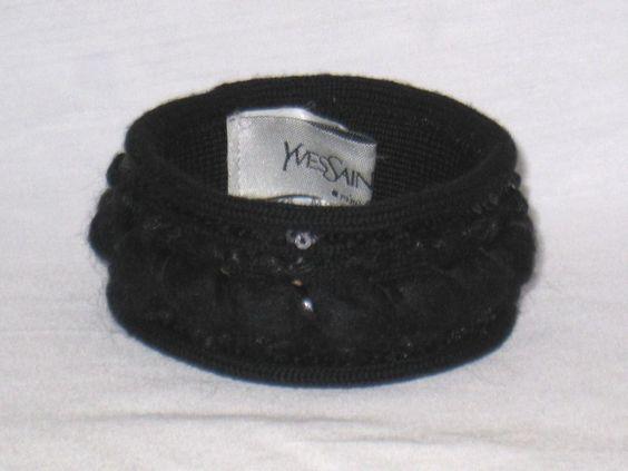 YSL Yves Saint Laurent Fabric Wool Knit Sequin Bangle Bracelet Cuff #YvesSaintLaurent #Bangle