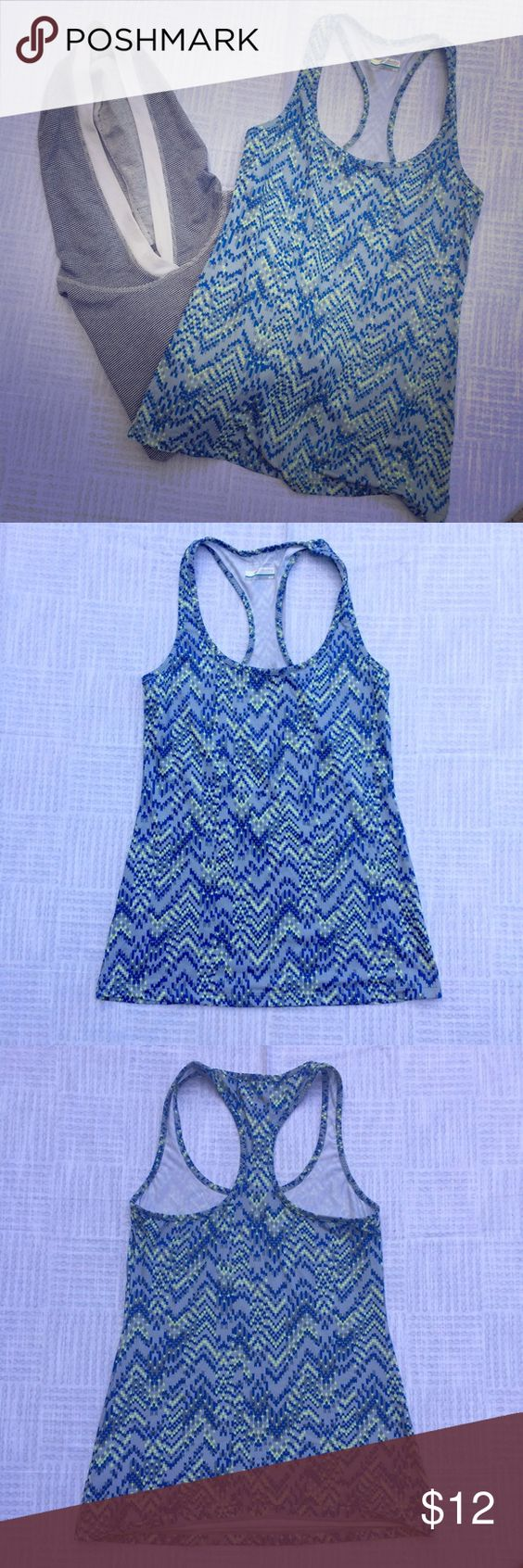 Columbia Sportswear athletic top! Grey top with blue and yellow print.  In great condition! Perfect for all athletic needs! Light moisture wicking material! Columbia Sportswear Tops Tank Tops