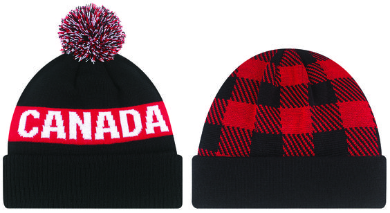 "With Canada celebrating their 150th anniversary in 2017, get a jump start with AJM's 2 new Canada themed cuff toques. 9R215M is a classic ""Pom Pom"" toque with the word 'CANADA"" jacquarded on both sides. Nicknamed ""Lumberjack"", 9N555M incorporates Canada's renowned plaid pattern jacquarded on the toque's crown. Contact AJM International at 1-800-361-6256 or visit www.ajmintl.com"