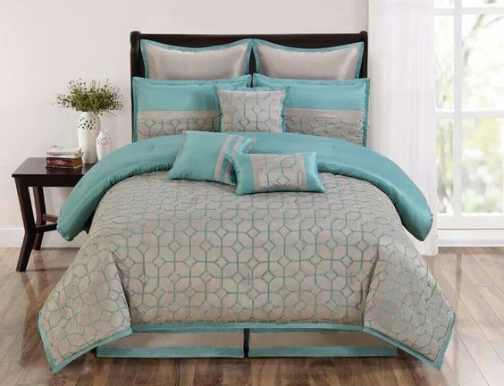turquoise and gray bedding set for the home pinterest master bedrooms home and gray bedding. Black Bedroom Furniture Sets. Home Design Ideas