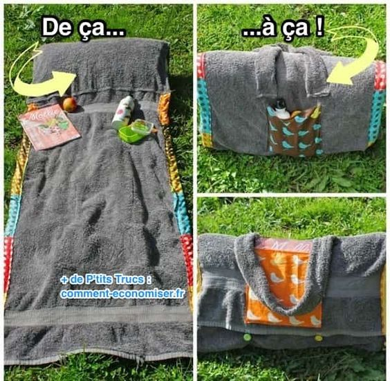 Voici un super tutoriel qui vous explique comment recycler une serviette de bain en serviette de plage avec oreiller intégré. L'originalité ? Des boutons qui permettent de replier la serviette de plage et de le porter en sac.  Découvrez l'astuce ici : http://www.comment-economiser.fr/ce-sac-se-transforme-en-serviette-plage-avec-coussin-integre.html?utm_content=buffer7ac6b&utm_medium=social&utm_source=pinterest.com&utm_campaign=buffer