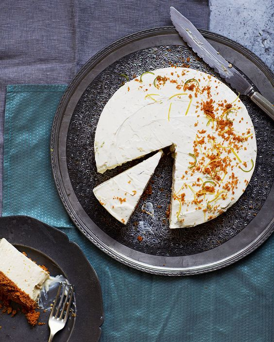 Lemon, lime and ginger cheesecake - You can make this no-fuss chilled pudding up to 48 hours ahead of time, so that you're as ready as can be for when guests arrive.