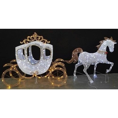 Lawn Decoration White Horse Carriage