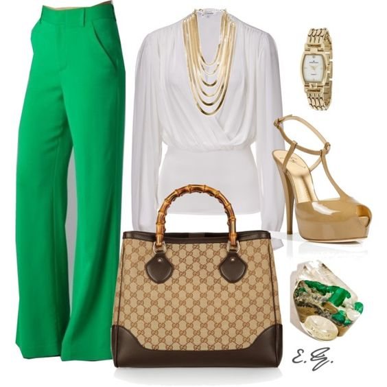 I am in love! Green Wide-Leg Pants: