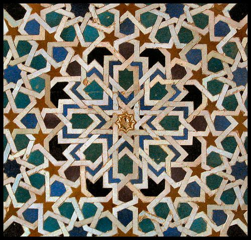 Tile Decoration from Alhambra Palace, Granada, Spain: