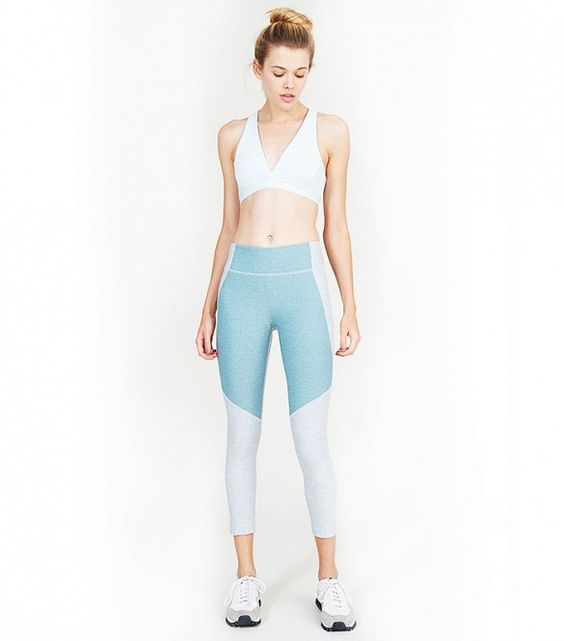 Outdoor Voices 3/4 Two-Tone Warmup Leggings in Dove & Slate