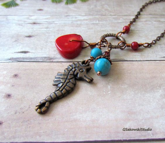 Simple beauty!....Antique Copper Seahorse Necklace Seahorse Coral by gsakowskistudio, $19.00