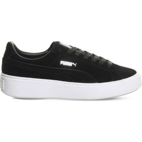 PUMA Suede platform trainers (£75) ❤ liked on Polyvore featuring shoes, sneakers, platform shoes, platform trainers, suede platform shoes, puma footwear and platform sneakers
