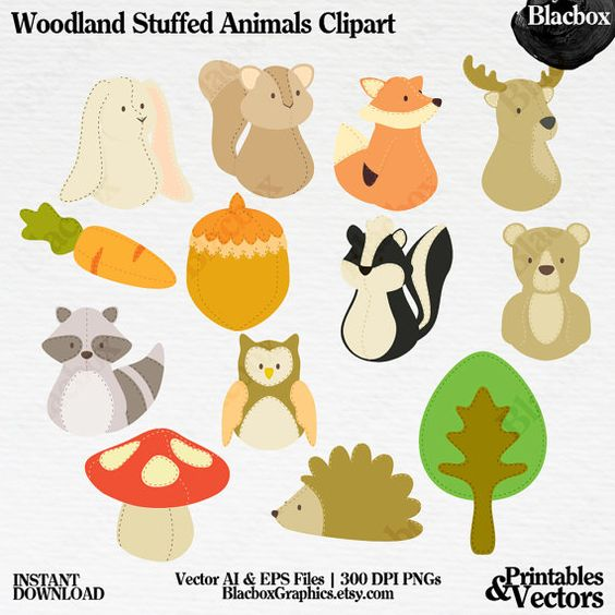 Woodland Stuffed Animals Clipart Png Vector Personal And Commercial Use Instant Download Animais Da Floresta Animais