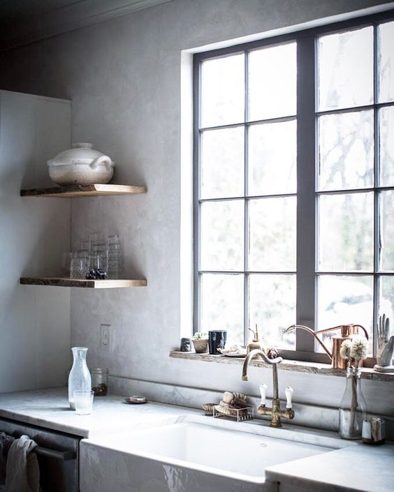 CLICK now to visit this story highlighting the inspiring kitchen decor in Beth Kirby's amazing modern farmhouse style kitchen with rustic decor. Jersey Ice Cream Co did the glorious design with Venetian plaster walls, open wood shelves, and showstopping Lacanche Sully range! #kitchenideas #kitchendecor #modernfarmhouse #farmhousekitchen #bethkirby #venetianplaster #farmsink #interiordesign