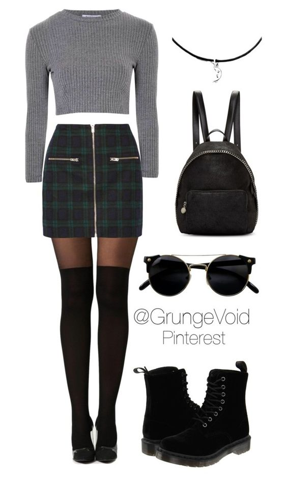 90s outfit plaid skirt by grungevoid on Polyvore featuring polyvore, fashion, style, Glamorous, Boohoo, Madewell, Dr. Martens, STELLA McCARTNEY and clothing                                                                                                                                                     More