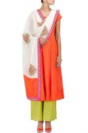 Orange kali kurta with green palazzos and off white dupatta vasavi shah