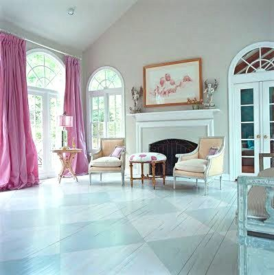 lovely pink curtains - the first thing you see in this room