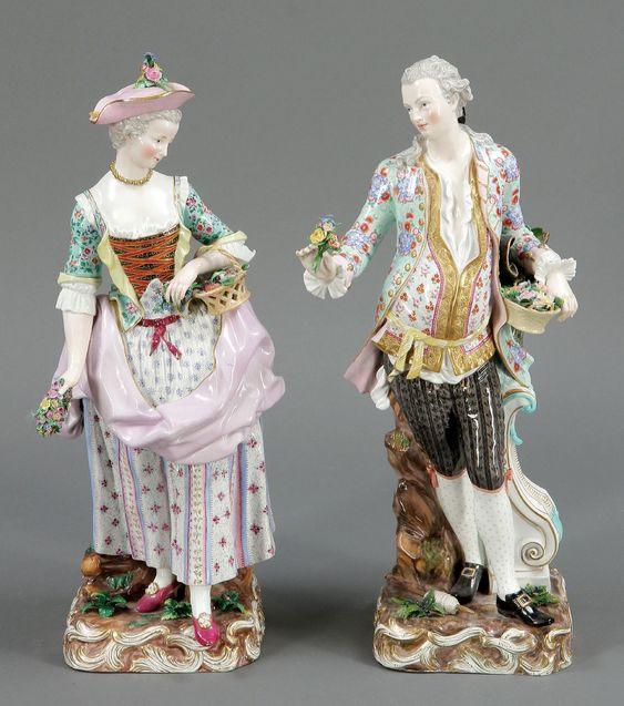 paar figuren g rtnerin und g rtnerk nigliche porzellan manufaktur meissen um 1850 antiques. Black Bedroom Furniture Sets. Home Design Ideas