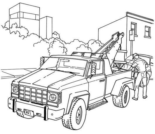 High Detailed Tow Truck Coloring Sheets For Boys Dengan Gambar