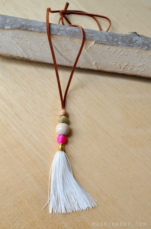 Boho Beachy DIY Suede Leather Tassel Necklace madeinaday.com: