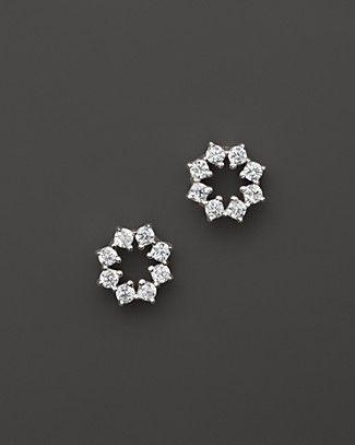 Small Diamond Stud Earrings in 14K White Gold