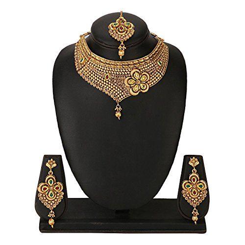 Efulgenz Indian Antique 18K Gold Tone Bollywood Traditional Bridal Kundan Polki Studded Designer Jewelry Necklace Set for Women and Girls