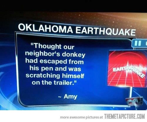 Oklahoma earthquake…